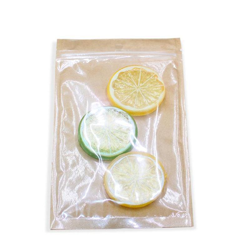 2021 Neue Stil Reißverschluss Top Plastiktüte Kraftpapierbeutel mit klarem Fenster für getrocknete Lebensmittel Nüsse Candy Party Geschenkpaket