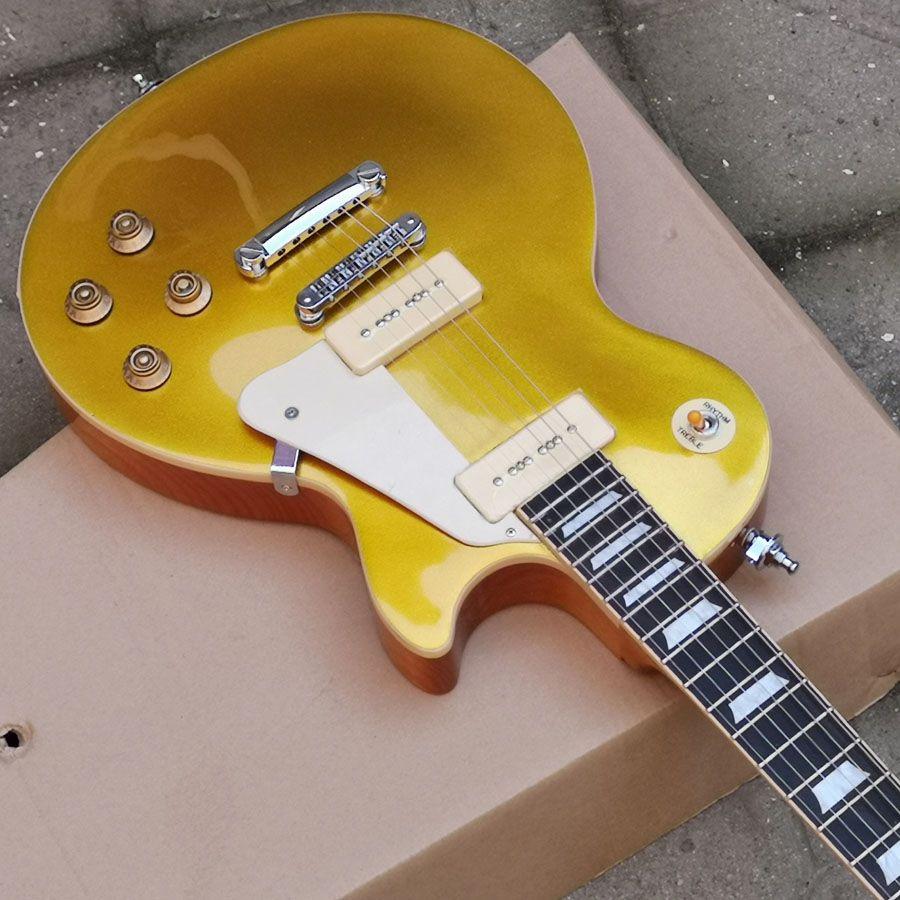 골드 탑 일렉트릭 기타 기타 P90 픽업