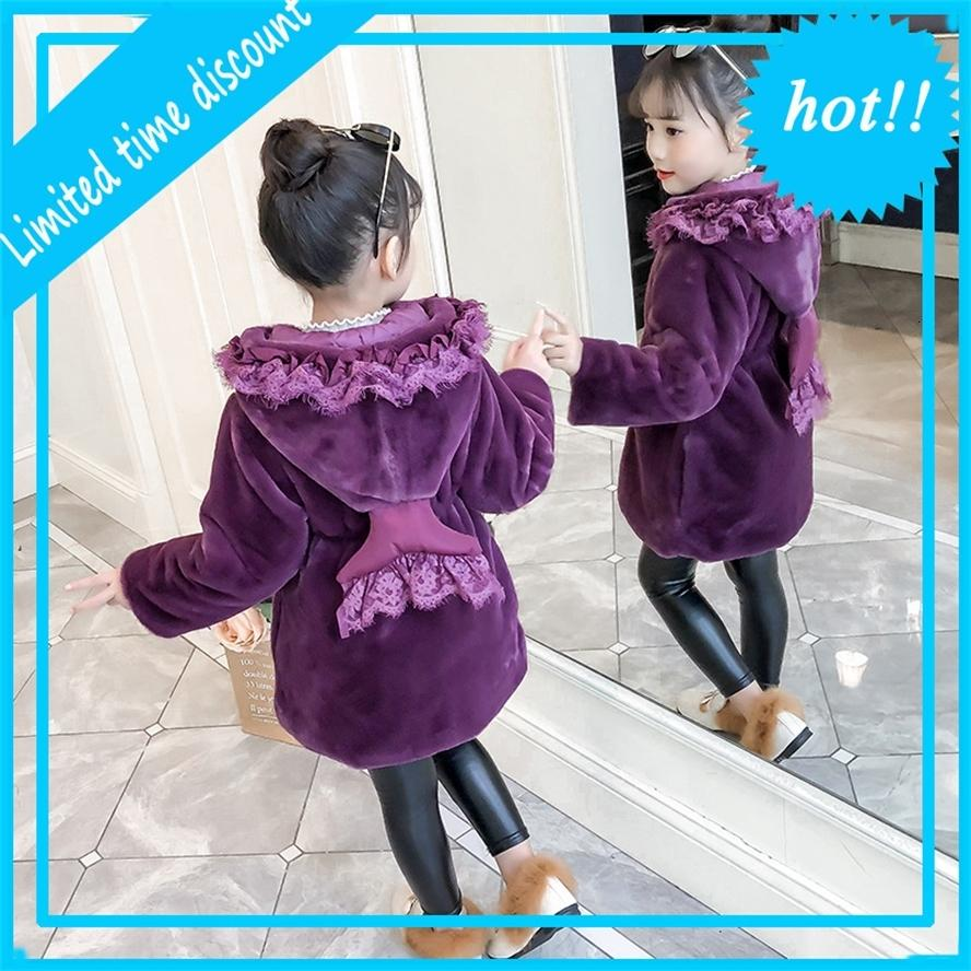 Девушки нагоняют капушон для зимней моды Горячие хлопковые пальто имитации BONTJAS принцесса одежда детей 4-12 лет