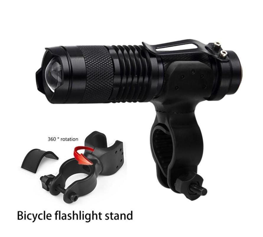 Luces de bicicleta al por mayor 100pcs Mini Zoomable SK68 + TITULARES Q5 LED Light Antorche A prueba de agua a prueba de agua 500 Lumens 5 colores