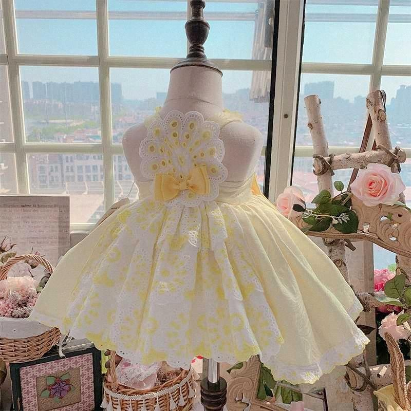 2020new espagnole personnalisée princesse robe légère de jaune Tutu robe d'anniversaire de fille de soirée manches filles Noël # F0V9 de