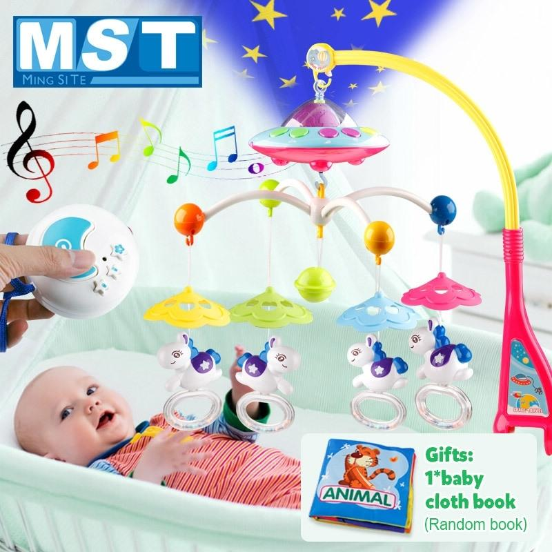 Детские игрушки 0-12 месяцев Детская кроватка Мобильная музыкальная кровать Bell Висит погремушки Проекция мультфильм Книга Baby Boy игрушки для развития детей T200429