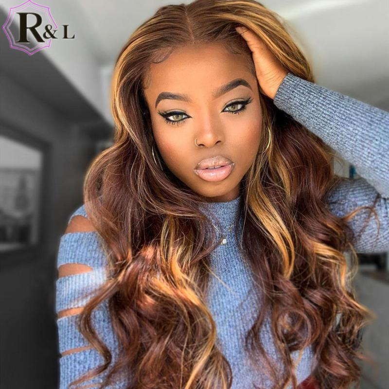 Rulinda Highlight OMBRE цвет кружева передние волосы волосы парики для волос тела бразильский T-часть ременные волосы кружевные парики