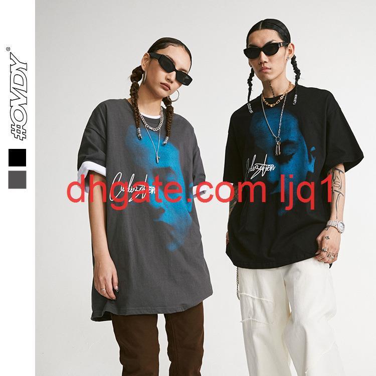 Wxwovdy мужская 2021 весна и лето Новый модный бренд темный повседневная футболка рисунок печати свободно круглые шеи с коротким рукавом мужская одежда