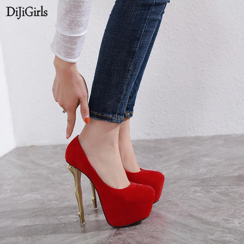 16 cm tacón de las señoras bombas rojo alto talón zapatos moda extraño plataforma zapatos mujeres bombas negras redondo punta altos tacones