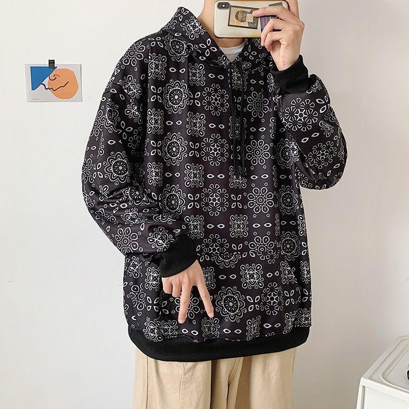 Fall Hoodie Mens Ins Ins Fashion Brand Gong Kong Style Свободные Модные PU Shuai Корейская версия Дизайн Смысл Универсальный Пуловер Топ