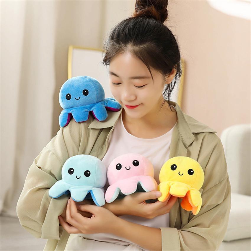 DHL Доставка Реверсивный Flip Octopus Фаршированные плюшевые игрушки 10 * 20 см Фаршированные Животные Симпатичные Перевернутые Осьминовые Кукла Освещенная Детская Игрушка