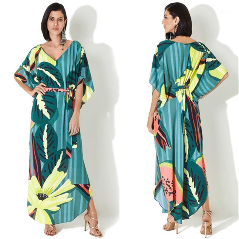 Bohe Floral Stampato Summer Donne Beachwear Kaftan Cover-Ups Abito da spiaggia in cotone Tunica Tunica Swim Wear Cover Up Robe de Plage1