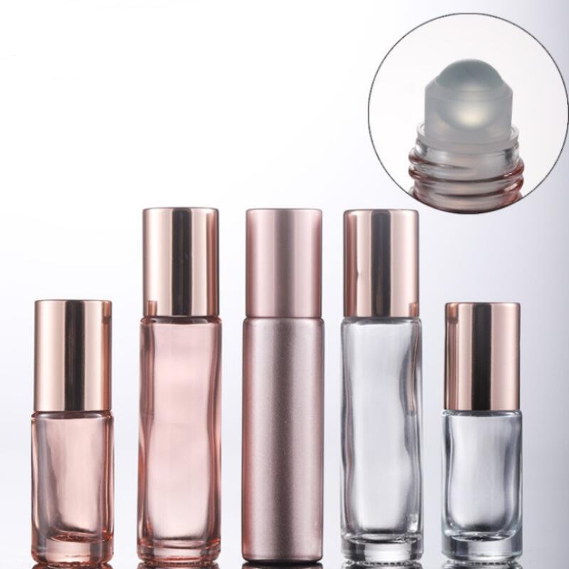 100pcs / lot 10ml altın şeffaf top şişe 5ml göz masajı rulo top şişesi boş cam bilye şişeleri NWD2938 gül