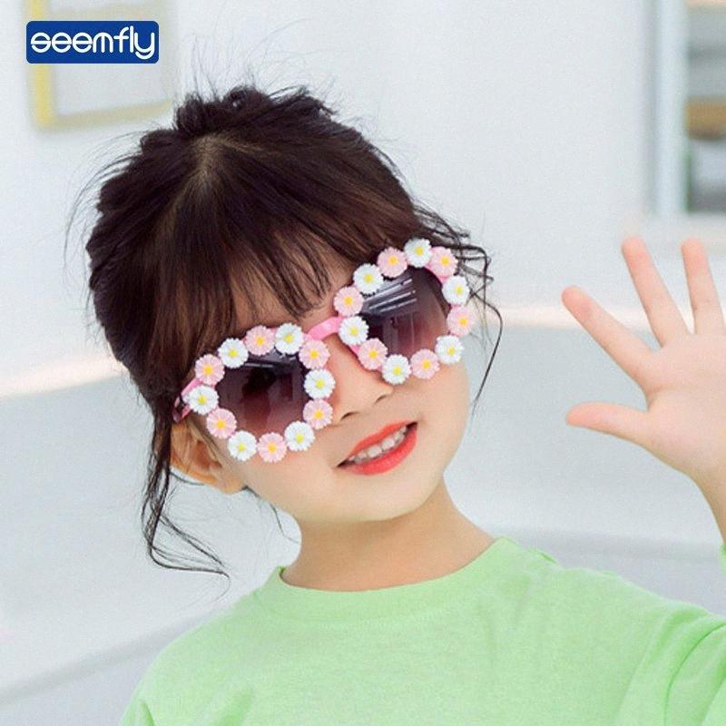 Seemfly nette Art und Weise Sonnenbrille Little Flower Oval Rahmen Klare Sichtscheibe Kinder Brille Bequeme Brille für Mädchen im Freien X0sy #