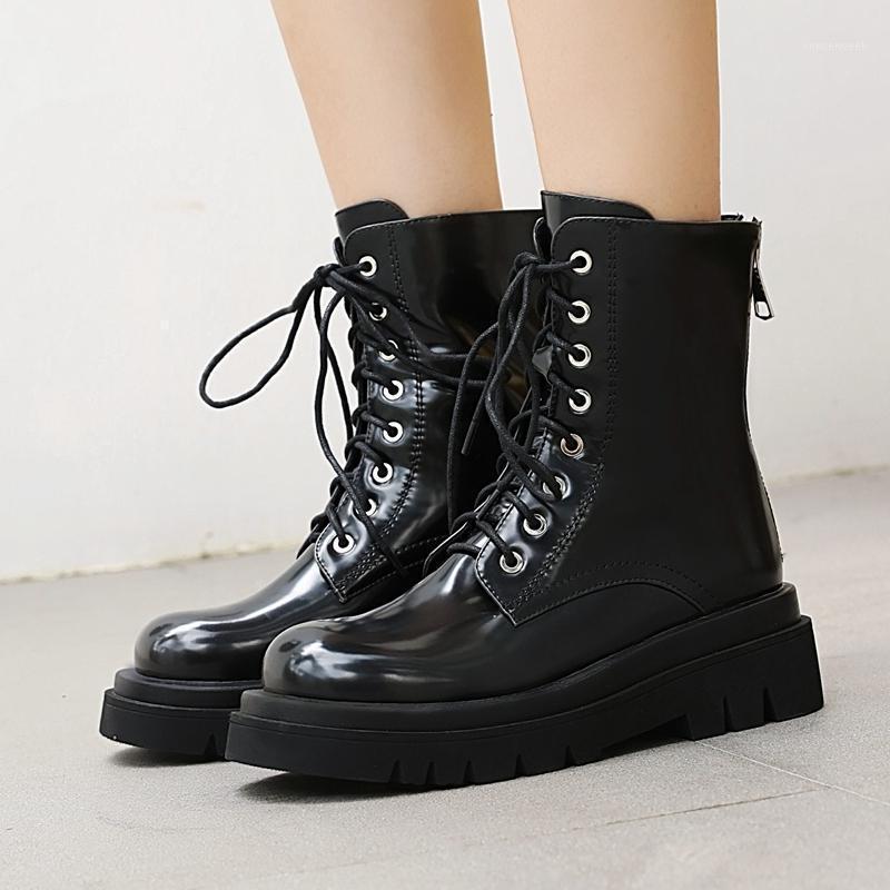 Bottines en caoutchouc Sexy Hiver Bottines Femmes Cuir Noir 2020 Fashion Combat Bottes Femmes Chaussures à lacets Moto Moyens1