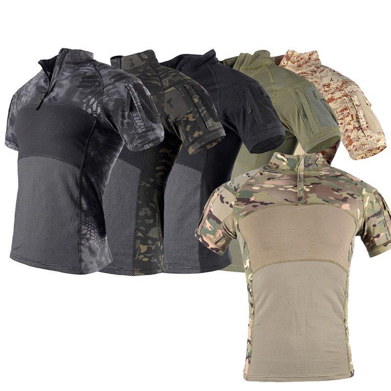 Caccia altalena all'aperto che caccia ci sparano a combattimento da battaglia USA uniforme tattica BDU BDU Abbigliamento da combattimento Abbigliamento camo camouflage T-shirt P05-014