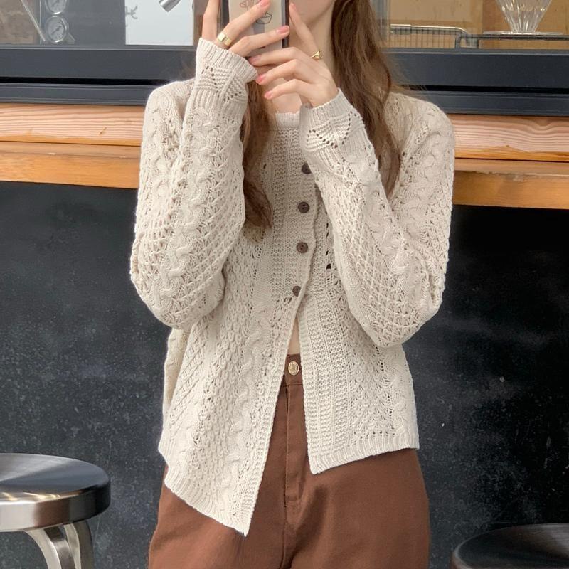 2020 neue Frauen des Herbstes Strickpullis Weiblich Cardigan Tops Concise Solide Thinny elegante Büro-Dame Casual Alle Spiel Unregelmäßige