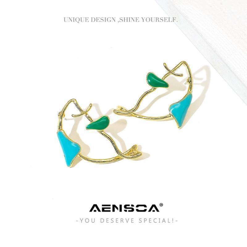 Aensoa Fashion Creative Creative Irregular Peinture Métal Dangle Boucles d'oreilles pour femmes Gold Couleur Geometric Boucles d'oreilles 2020 Accessoires1