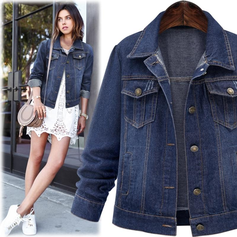 Large size 5XL Autumn Winter Women Denim Jacket Long Sleeve Short Denim Coat For Women Jeans Jacket Plus Size Outwear 201006