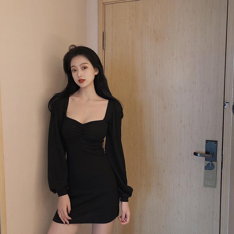 2020 Новый Harajuku Low Cut платья женщин офиса Lady Street Casual Dress Black Простой мини-платье