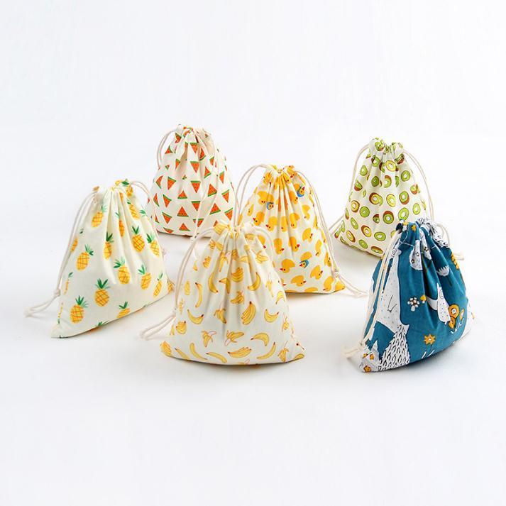 Weihnachtsgeschenk-Tasche Baumwolle Leinen Leinwand Kordelzug Sack-Beutel mit Weihnachten Banana Coconut Wassermelone Ananas-Frucht für Geschenke SN4863
