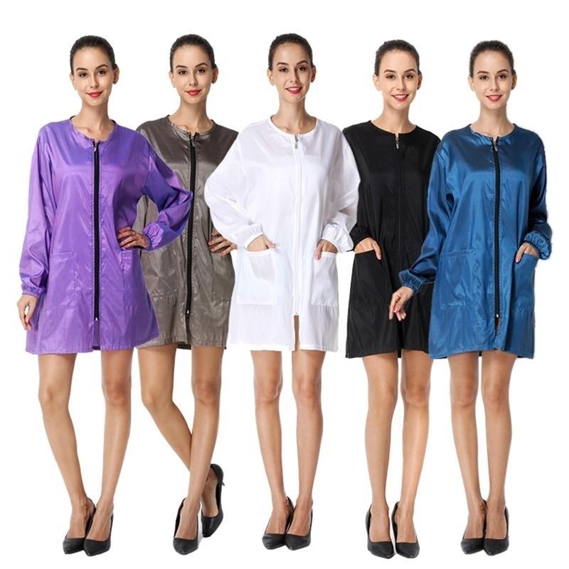 New Women Dress Long Sleeve Short Dress O Neck Wind Jacket Barber Aprons Hairdressing Waterproof Workwear Beauty Spa Apron LJ200911