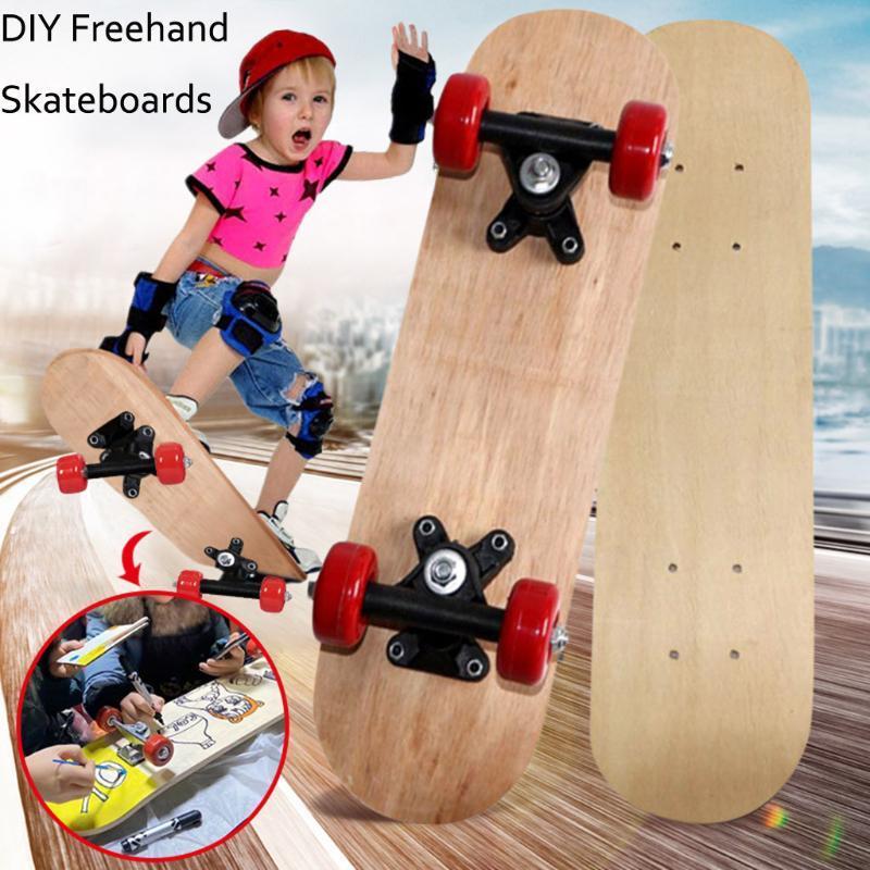 التزلج الكامل diy مرفوعة سكيتبورد للمبتدئين كتابات الفتيان الفتيات الاطفال longboard جرافيك المطبوعة سكوتر الأطفال