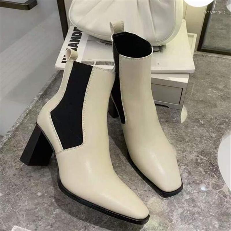 Элегантные женские ботинки голенолы бежевые высокие каблуки сапоги квадратные пальмы ноги коренастые каблуки на молнии леди осень зима вечеринка 1