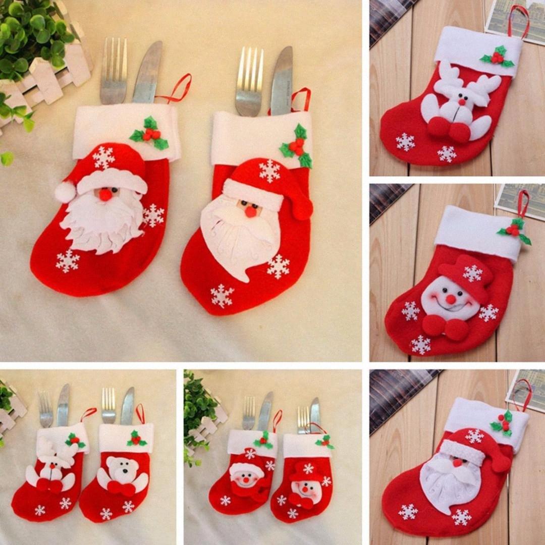 Capodanno 2020 so4a supporto di Natale da tavola Fork Knife posate Borsa Noel Natale decorazioni per la casa Dinner Table Decor regalo #