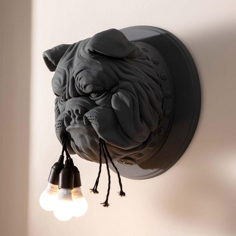 Nordic Animal Head Wandleuchten Wohnzimmer Esszimmer Studium Schlafzimmer Persönlichkeit Kreative Designer KTV Bulldog Hundewanderer