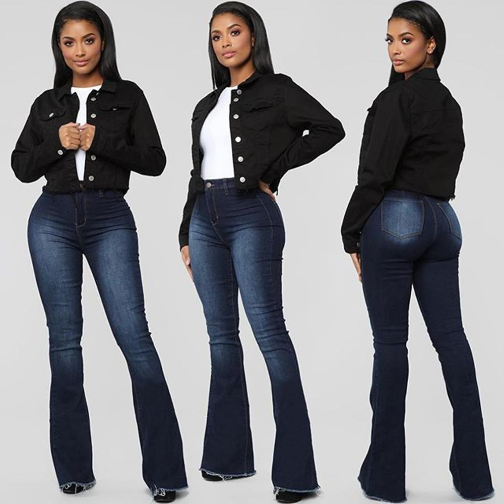 2020 Fall / Winter Neue Frauen Hohe Taille Flare Jeans Stretch Slim Denim Lange Hosen Casual Bootcut Jeans S-2XL Drop Shipping W0104