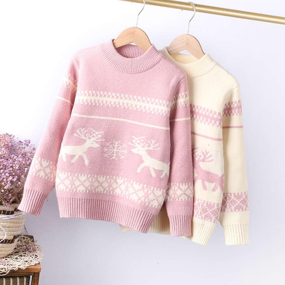 composite Fawn jacquard mink cashmere girls' winter 2020 wear medium and large children's thickened sweater 130-160