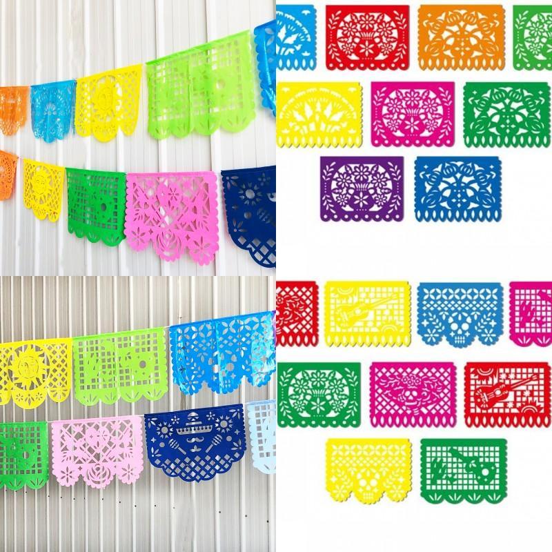 Kunststoff Pull Fahne Party Square Anhänger Girlande Ziehen Karneval Parties Multi Styles Farbige Flaggen Neue Ankunft 15 8Sq L1