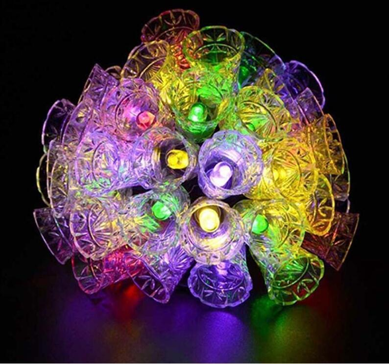 Строка свет 20 светодиодных солнечных ламп Водонепроницаемые наружные колокольчики фея садовые дерево колокол Новый год садовые украшения оптом бросают DDE4014