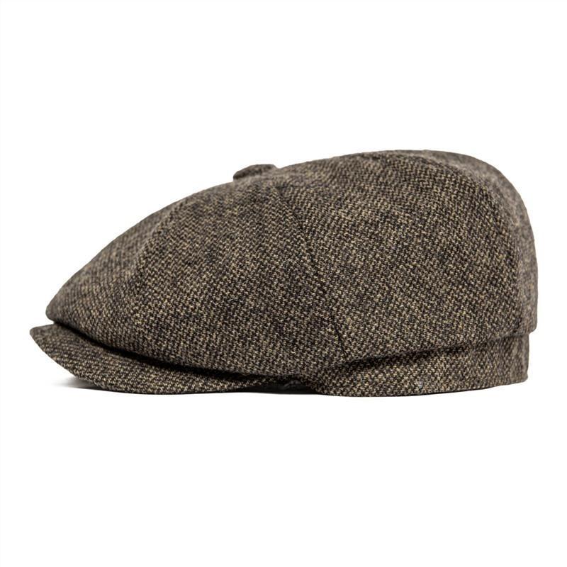 BOTVELA Men 8 Piece Wool Blend Newsboy Flat Cap Gatsby Retro Hat Driving Caps Baker Boy Hats Women Boina Khaki Coffee Brown 005 201204