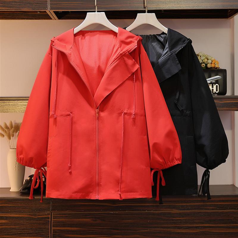 المرأة جاكيتات زائد حجم النساء ملابس الأزياء مقنعين سترة سيدة عارضة فضفاض معطف قميص 2021 ربيع الخريف معطف أسود أحمر 3XL 4XL