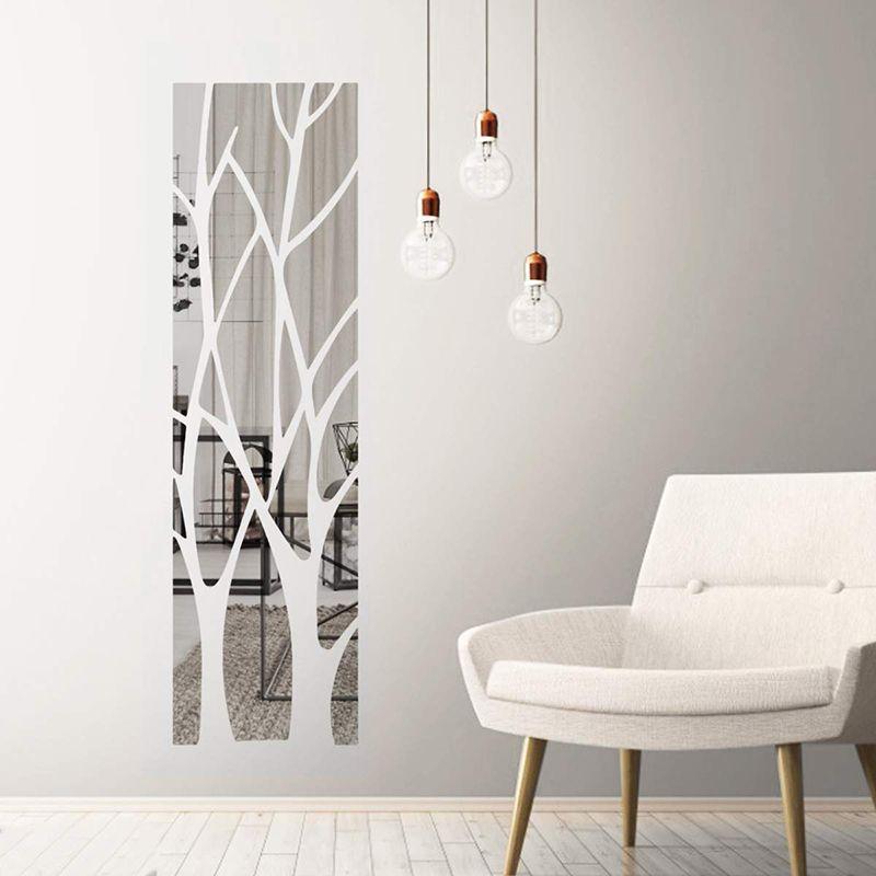 나무 패턴 아크릴 거울 벽 스티커 현대 가정 장식 벽화 3D 셀프 접착식 DIY 아트 데칼 장식 스티커