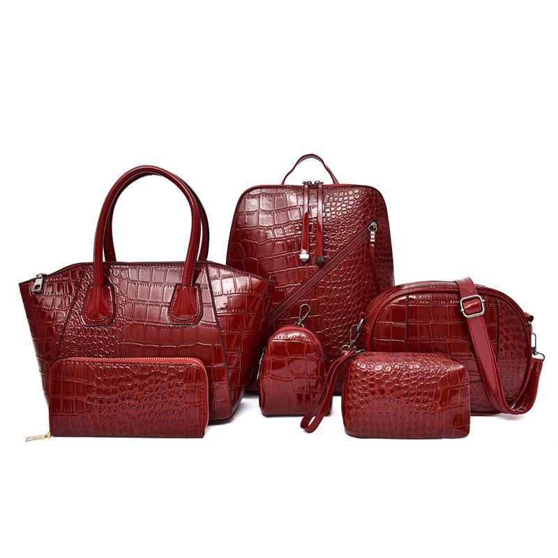 Сумки на ремне Высококачественная сумка сумка мешок сумка сумка 6 кусок набор женщин элегантный роскошный крокодил узор черный Crossbody