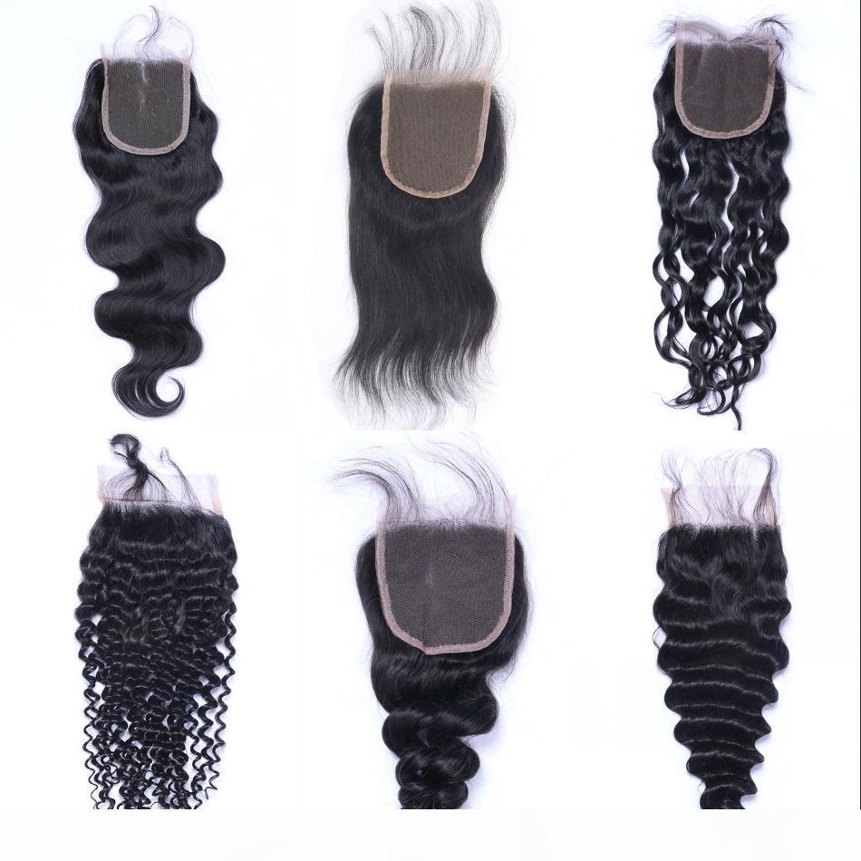 Brasilianisches Reines Haar Körperwellen-Spitze-Verschluss 4x4 tiefe lose Wasserwelle gerade lockiges menschliches Haar-Oberteil Schließungen
