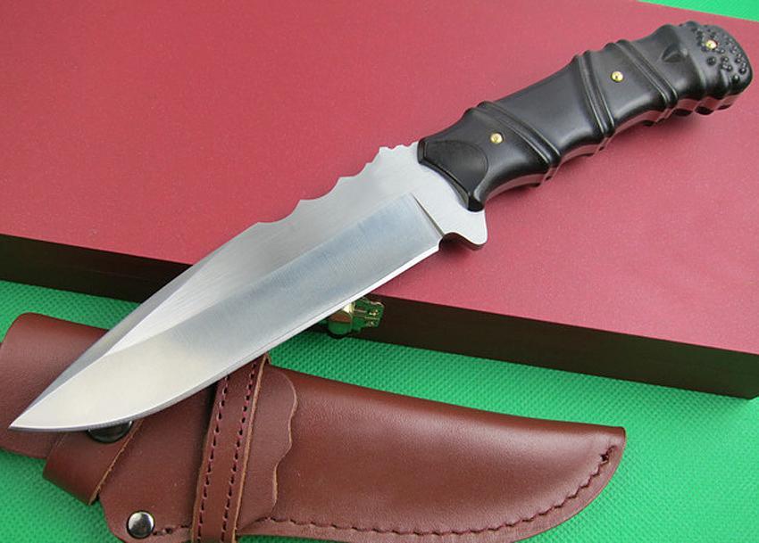 Neue Ankunft M2 Survival Tactical Straight Messer 7cr17mov 60HRC Satin Blade Outdoor Camping Wandern Jagd Feste Blade Messer mit Geschenkbox