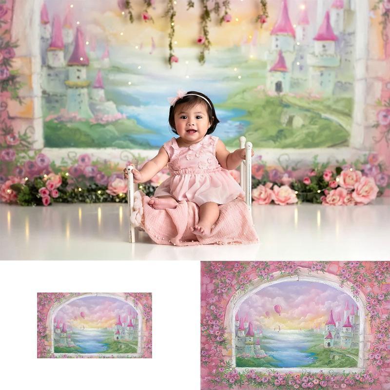 Photography backdrop newborn kids castle hot air balloons windows photo background studio flowers portrait photo shoot video