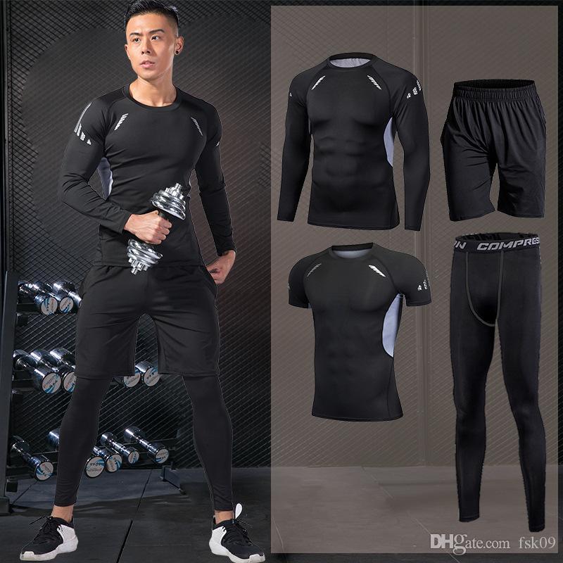 Sport pour Homme Ensembles Combinaisons étanches Vêtements de sport de jogging Compression Vêtements de sport Fitness Training Pantalons Veste Shorts d'entraînement
