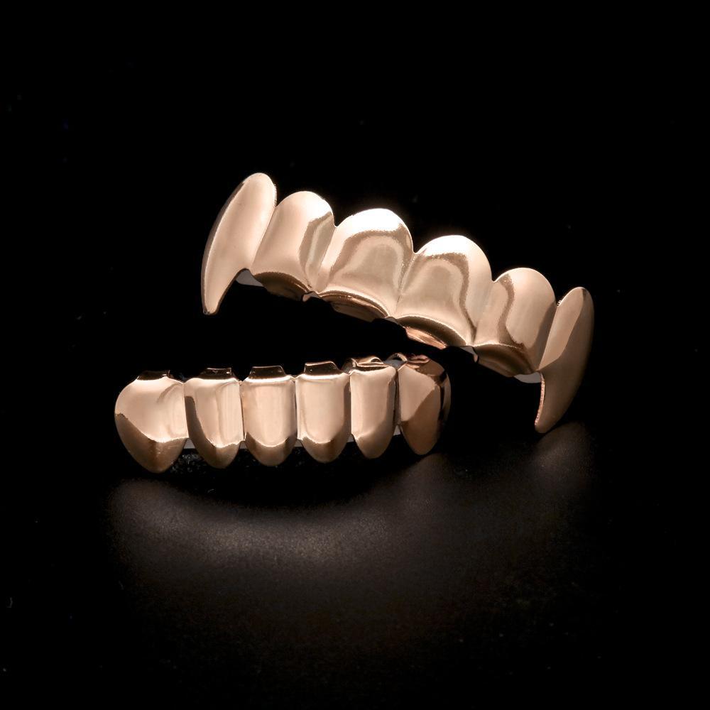 Aiyanishi Gold Посеребренные зубы Grillz 6 Лучшие дно Искусственные зубные зубные скобки грили мужчин леди хип-хоп рэпер корпус ювелирных изделий дизайнер