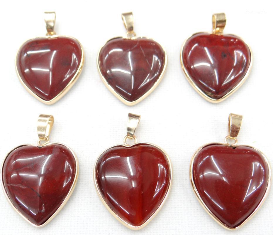 Atacado Natural Tiger Eye Stone Agates Gold Side Cristal Heart Forma Pingente para DIY Colares Jóias Fazendo Acessórios1