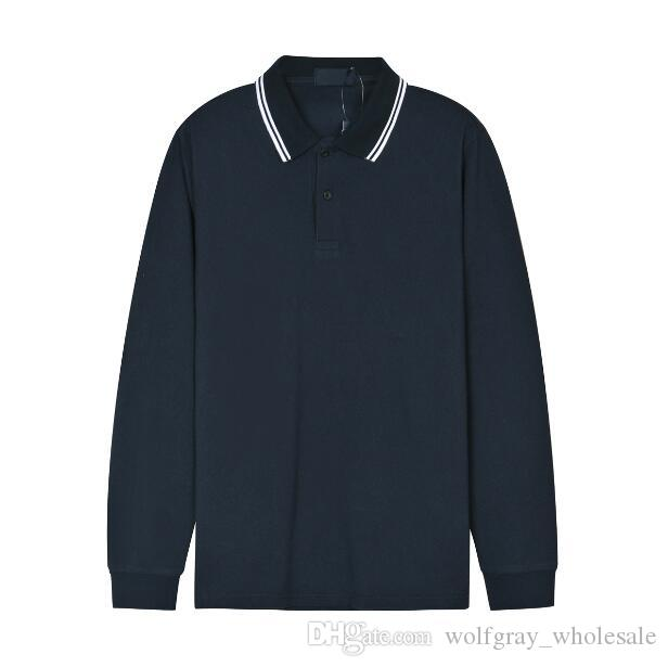 Англия Мужчины Фред Случайный красный Черный рукав Мода Сплошная Рубашка T-Рубашки Хлопок Длинные Бизнес Тис Топ Перри Серый Белый 100% S-XXL GCLRW