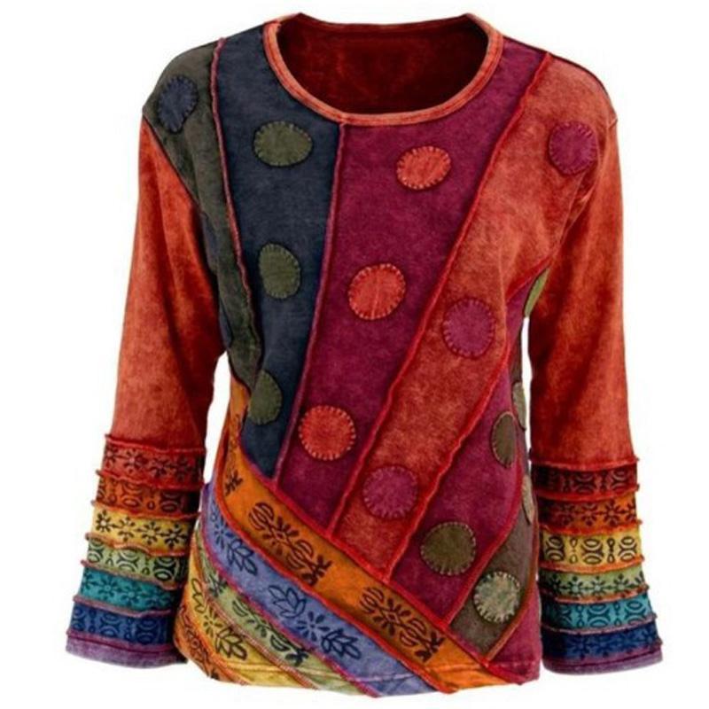 Elegantes Muster gedrucktes Patchwork Plus Size Tops Sexy O Ansatz Flare Langarmbluse Shirt Vintage Herbst-Winter-Frauen-Pullover