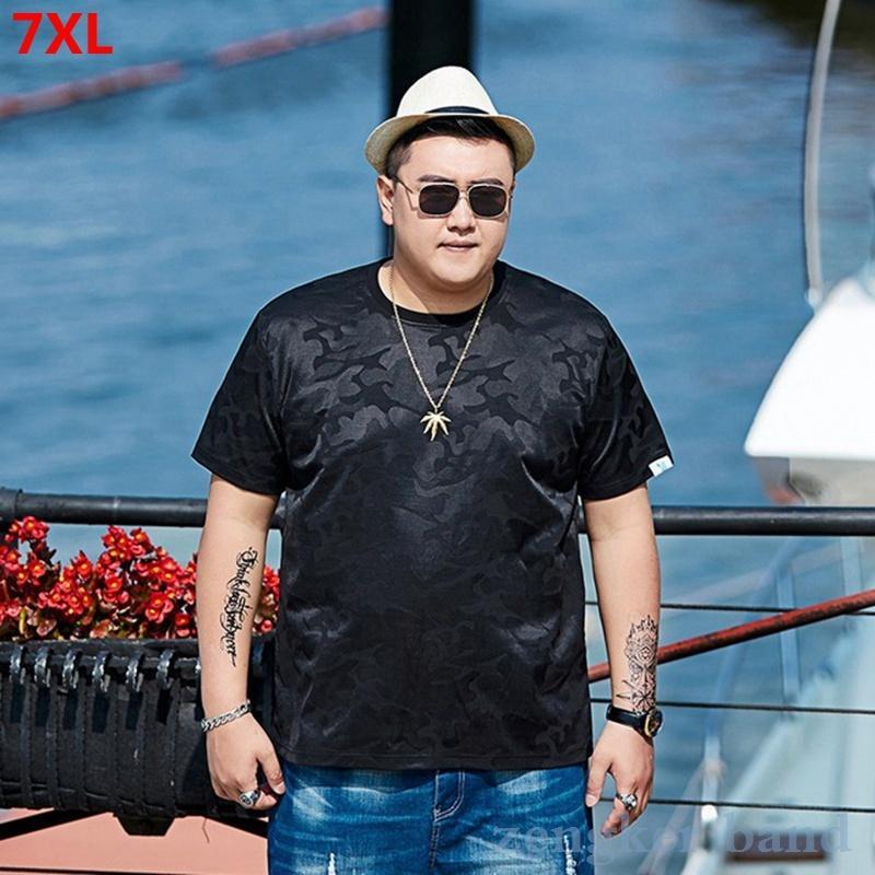 Sommer Kurzarm-T-Shirt Camouflage männlich große Größe plus Baumwolle Gezeiten der Männer lose Halbhülse 6XL 7XL