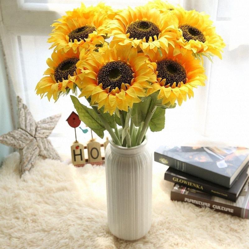 1шт 67см Искусственный подсолнечника Sun Flower Silk Daisy Декоративное партия Цветы для дома и офиса Сад Свадьба Праздничный сад WSBT #