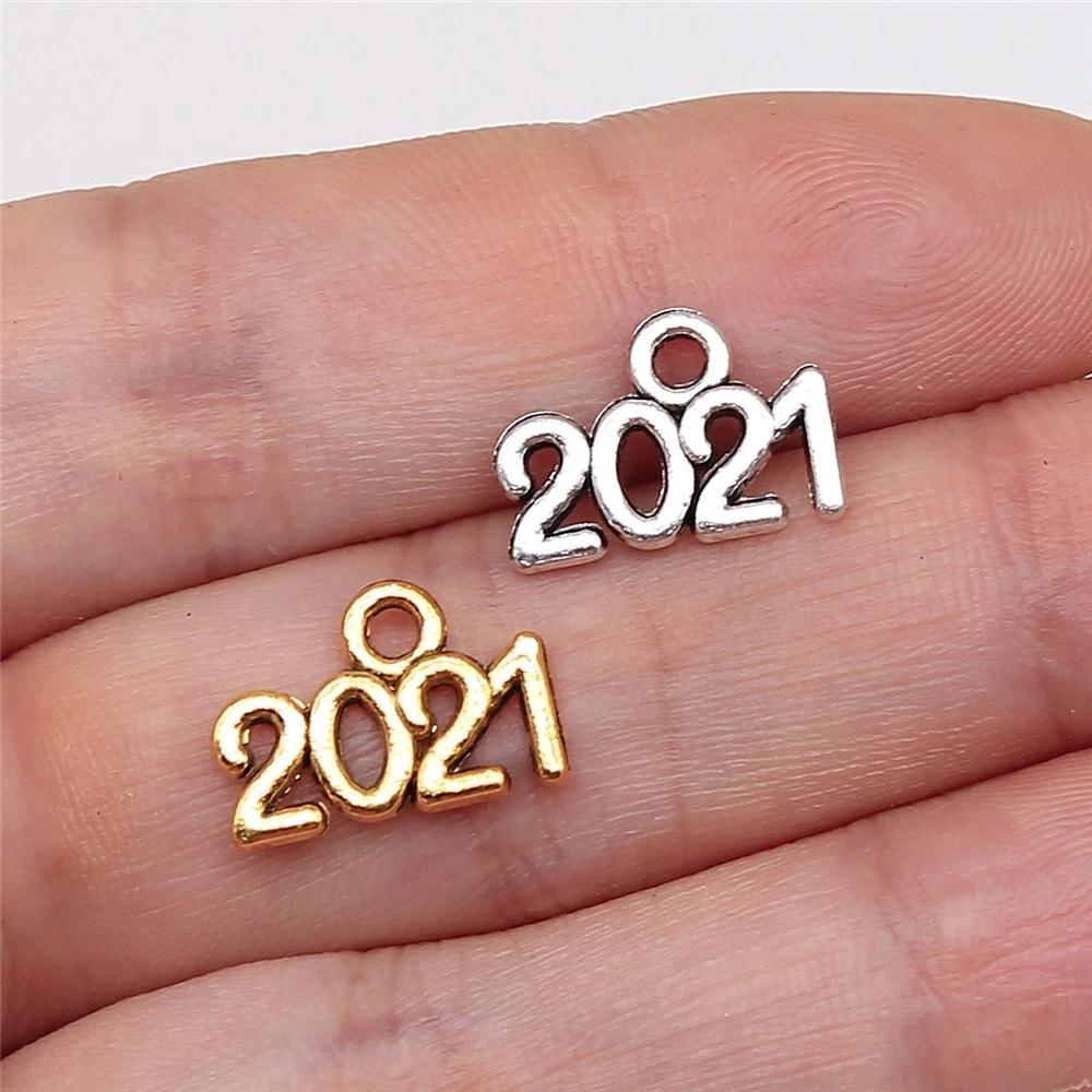 500pcs Anno Numero 2021 fascini del pendente Gioielli fai da te Fabbricazione dei monili 10x14mm Finding d'argento antico di colore oro