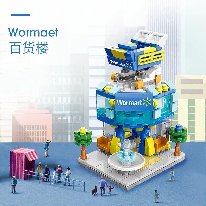 Bausteine Mini-Blick auf die Straße städtischen Einkaufsstraße Gebäudemodell Kinder Jungen und Mädchen Puzzle Montage Spielzeug Stall puzzle4