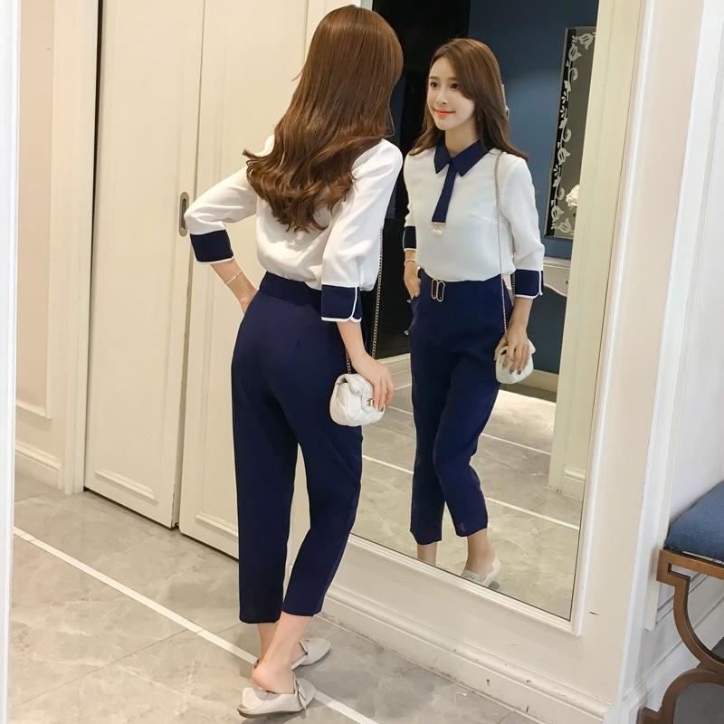 collare Due ELje4 3TXzb e pezzo camicia con tuta pantaloni primaverili suitShirt pantaloni setsuit bambino Capris 2019 di moda