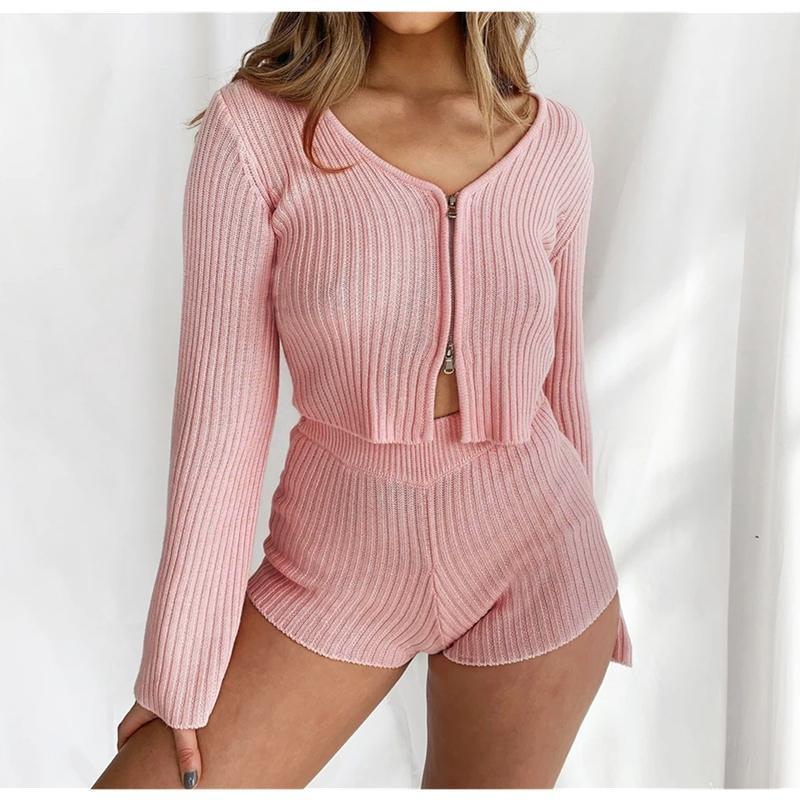 2020 Sexy Rose tricotée deux pièces Set Homewear Survêtement Casual Mode Femme manches longues col en V Zip Crop Top + Short taille haute