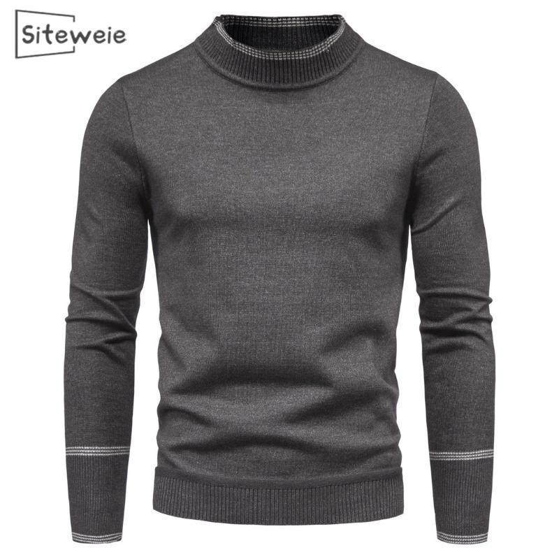 남성용 스웨터 SiteWeie 2021 브랜드 남성 의류 세미 하이 칼라 스웨터 긴 소매 슬리밍 하단 셔츠 SUETERS 드 HOMBRE L534