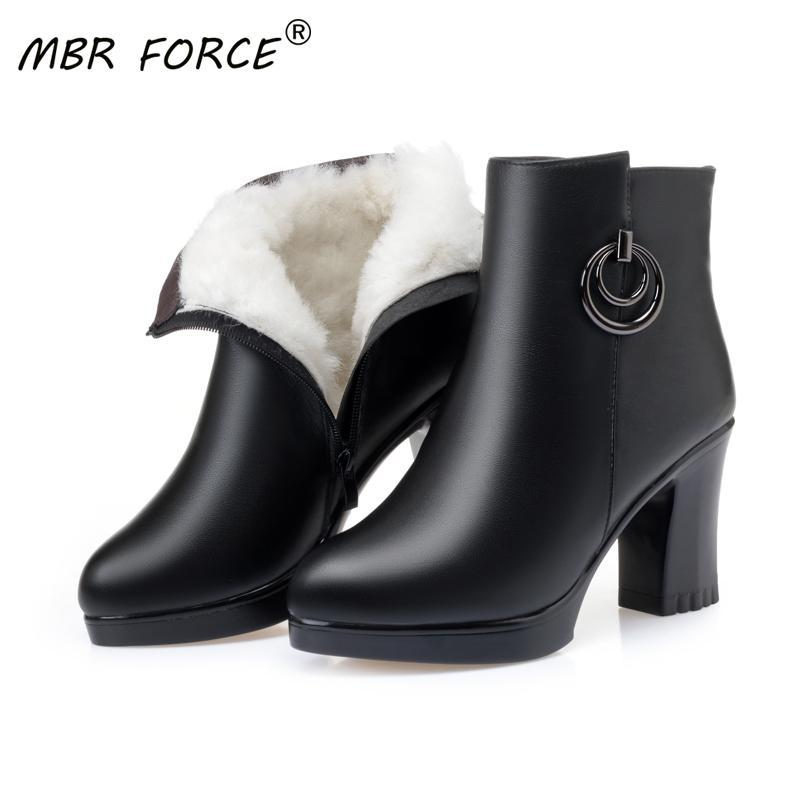 MBR FORCE Women Boots High Heels 2020 New Winter Boots Women Sexy Stiletto Thick Wool Warm Fashion Banquet Ladies' booties